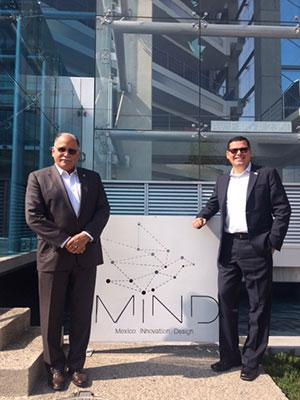 Pictured on the Right: Assemblymember Rudy Salas and I touring Edificio MIND, an innovation and technology center in Jalisco.