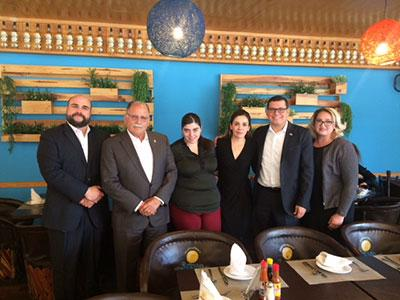 Pictured on the Left: Rodrigo Aguilar Benignos, International Adviser to the Government of Jalisco, Assemblymember Jose Medina, Wendy Sanabria Palazuelos, Director of International Affairs, Mariana Sophia Márquez Laureano, General Director of the Jalisco Institute for Migrants, Assemblymember Rudy Salas, and Kierra Paul, Team Medina Staff