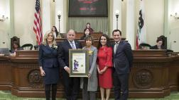 Assemblymember Medina with the 2019 Woman of the Year, accompanied by the Assembly Speaker, Assembly Minority Leader,  and the Vice Chair of the California Legislative Women's Caucus